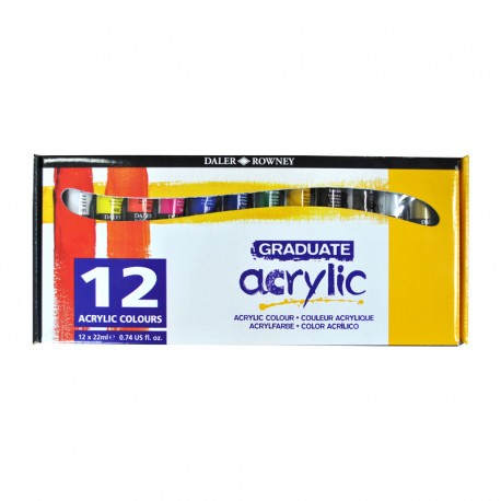 Set 12x22ml culori acrilice Graduate Daler Rowney