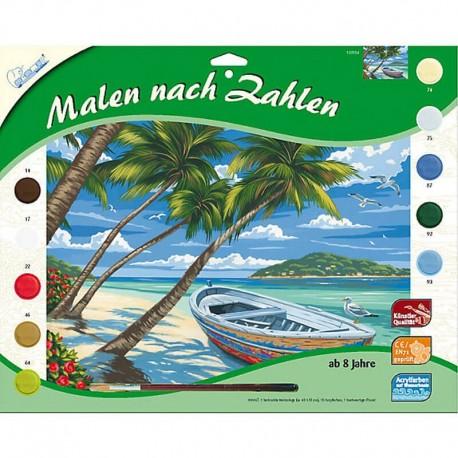 Pictura pe numere Plaja cu palmieri