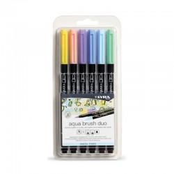 Set 6 markere acuarela Pastel Tones Aqua Brush Duo Lyra