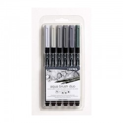 Set 6 markere acuarela Grey Tones Aqua Brush Duo Lyra