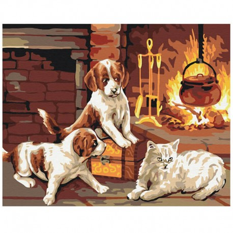Pictura pe numere Pets by the fireplace Atelier