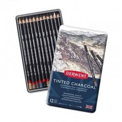 Set 12 creioane carbune Tinted Charcoal Derwent