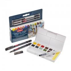Set 12 Inktense Paint Pan Line & Wash Derwent