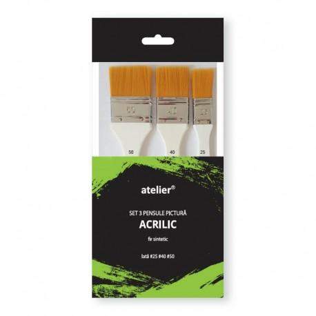 Set 3 pensule pictura bidinea sintetic Atelier
