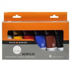 Set culori acrilice 6x75ml Simply Daler Rowney