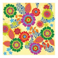 Servetel decorativ Hippie Flowers yellow