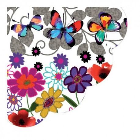 Servetel decorativ rotund Butterflies in my Garden