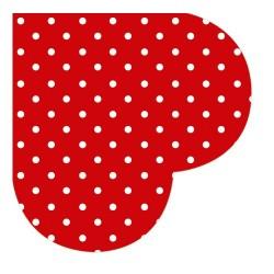 Servetel decorativ rotund hearts dots red
