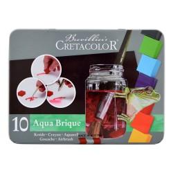 Set 10 godete culori acuarela Aqua Brique Cretacolor