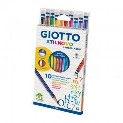 Set 10 creioane colorate cu radiera Stilnovo Giotto