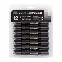 Set 12+1 Neutral Greys BrushMarker Winsor & Newton