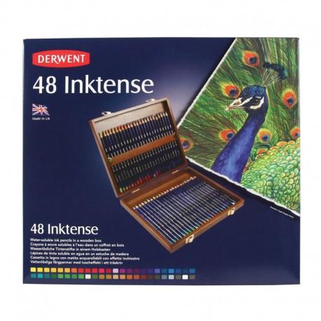 Cutie lemn 48 creioane acuarela Inktense Derwent