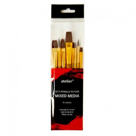 Set 8 pensule pictura mixed media Atelier